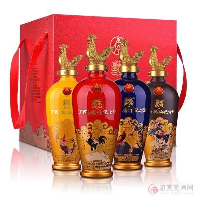 52度五粮液鸡年纪念酒500mlx4瓶图片